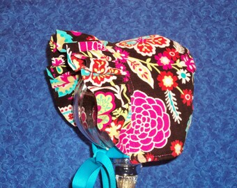 Winter Baby Bonnet Brown Corduroy Floral with Hot Pink Fleece Lining