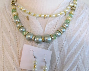 Necklace, bracelet, and earring