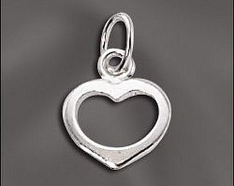 Silver Filled Open Heart Charm 8 pcs SF-120 (8)