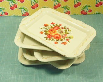 Vintage White Toleware Tip Trays - Set Of 6