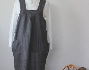 Linen bag cloth apron Charcoal Grey linen 100%