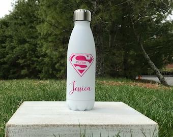 Nurse Water Bottle, Personalized Water Bottle Steel Water Bottle, Nurse Gift