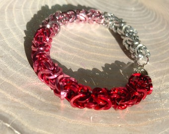 Red Pink Silver Ombre Chainmaille Bracelet Byzantine Chainmail Chain Mail