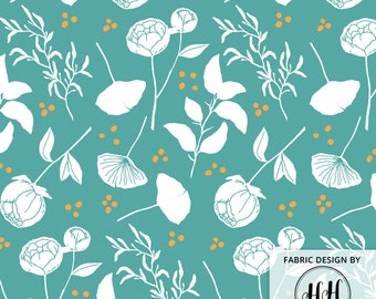 Botanical Garden Fabric By The Yard - Floral Fabric - Teal and Mustard Floral and Foliage Block Print in Yard & Fat Quarter