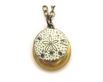 """Sand Dollar Locket 20"""" Antiqued Brass Chain"""