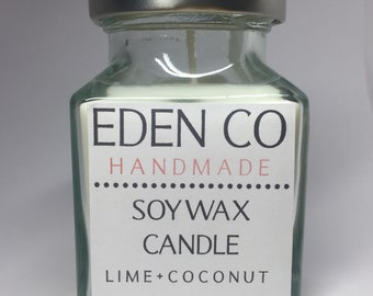 Lime + Coconut Soy Wax Candle ~ Glass Jar