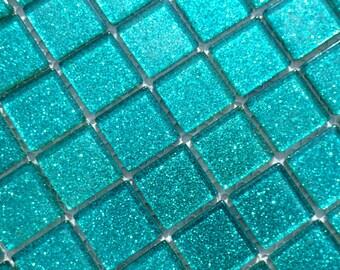Aqua Glitter Tiles - 1 inch Mosaic Tiles - 25 Metallic Glass Tiles - Light Blue