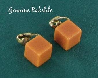 Orange Cubed Bakelite Clip Back Earrings tested genuine Vintage