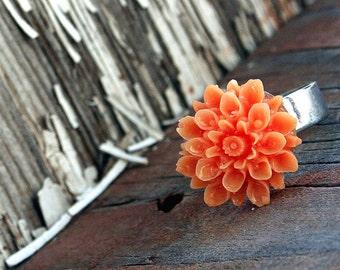 Flower Ring, Light Orange Chrysanthemum, Gothic Victorian Big Ring Woodland Wedding Bridesmaids Gifts by Smash Gardens on Etsy