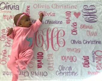 SALE! Baby Girl Blanket, Personalize Baby Blanket, Monogram Baby Blanket, Name Blanket for Newborn, Minky Baby Blanket