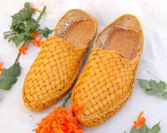 Handmade Woven Leather Slip on Unisex Shoes -  Hand Woven Shoes- Leather Shoes