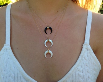 Double horn necklace | SMALL | Gold Filled or Sterling Silver necklace | Bone necklace | Moon necklace | Layering necklace ⋆