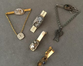 5 Piece Wholesale Lot Vintage Steampunk Watch Part Tie Bars, Tie Clips, OOAK Items, Lot #STB