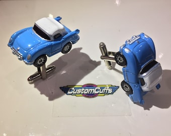 1955 Corvette Blue - Vintage Micro Machine Car Cufflinks. Perfect fathers day / valentines / birthday / wedding or christmas gift