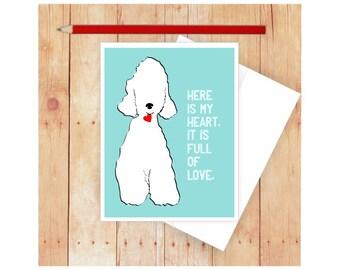 Bedlington Terrier Card, Dog Card, Dog Notecard, Dog Valentine, Romantic Greeting Card, Dog Lover, White Dog, Dog Anniversary Card