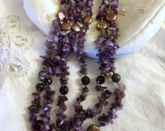 Glass Amethyst Multi Strand Necklace, Copper Spacers, Vintage, Toggle Clasp