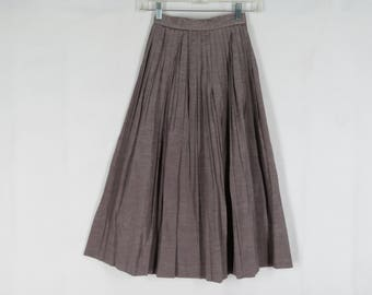 Vintage 50s 60s Pleated Skirt Shiny Solid Taupe XS