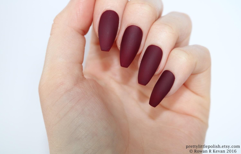 Matte burgundy coffin nails nail designs nail art nails zoom prinsesfo Choice Image