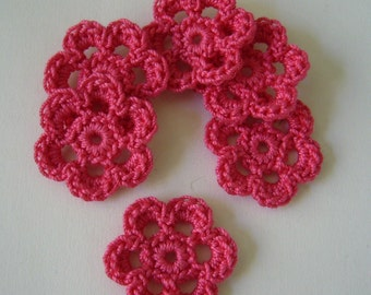 Mini Six Crocheted Flowers - Hot Pink - Cotton Flowers - Set of 6 - Crocheted Flower Embellishments - Crocheted Flower Appliques