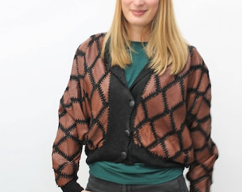 1980s Black & Brown Leather Patchwork Cardigan Size UK 12/14, US 8/10, EU 40/42