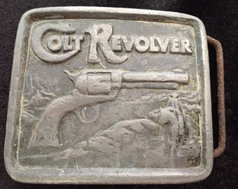 Vintage Colt Revolver Belt Buckle Indiana Metal Craft 1976 xr79