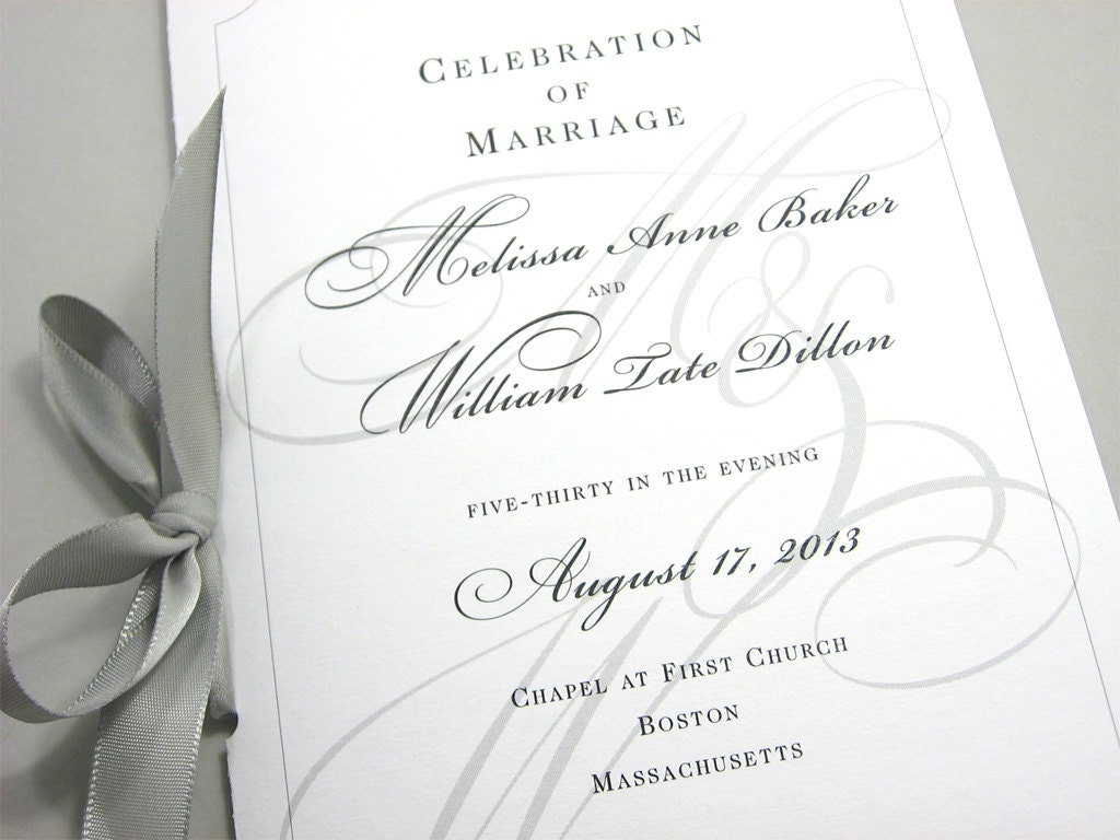 Wedding Ceremony Program Booklet Elegant Black White Custom