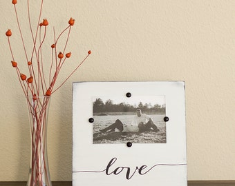 Rustic Picture Frame - Gift for Her– Rustic Home Decor – White Picture Frame –Wedding Gift - Love Decor