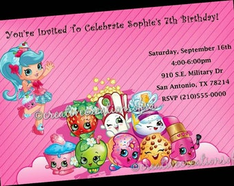 Personalized Shopkins 10 PRINTED Birthday Party Invitations (Printed & Mailed With Envelopes)