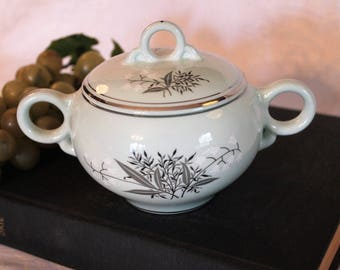 Mid Century Lady Empire Covered Sugar Bowl - Lily of the Valley, Mint Green and Platinum in Excellent Condition