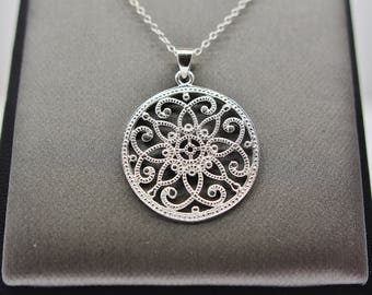 Sterling Silver Psychedelic Pattern Pendant Necklace