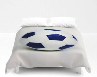 Soccer Duvet Cover-Soccer Bedding-Sports Bedding-Blue & White Duvet Cover-Sports Decor-Girls Bedding-Boys Bedding-Twin/Full/Queen/King Cover