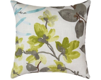 Decorative Pillow Cover, Luxury Designer, Gazebo Cloud Throw Pillow, Blue Green Taupe, Linen Blend Pillow, Floral Double Sided Pillow Cover