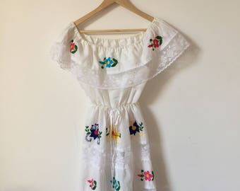 White cotton off-shoulder embroidered Mexican minidress