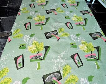1950's Miami Beach Pink Flamingo on Celadon Vintage Barkcloth Fabric MCM Atomic Boomerang