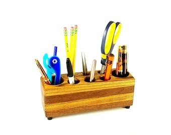 Wood Office Organizer, Pencil Cup, Desk Organizer, Office Caddy Desk Decor, Wooden Office Storage, Wood Desk Organizer