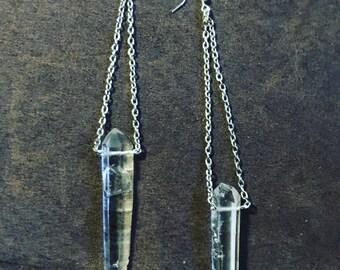 Clear Quartz Dangle Earrings