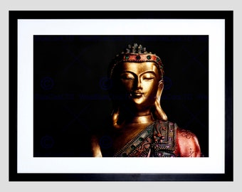 Photo Gold Buddha Statue Peace Meditation Art Print Poster Picture FEBMP2015B