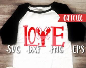 Crawfish Svg Cut File - Valentines Svg Cut File - Crawfish Love Svg Cut File - Louisiana Svg Cut File - Silhouette Cut File - Cricut Cut Fil