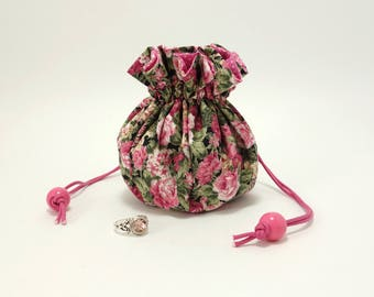 Jewelry drawstring pouch / Travel organizer, 9 pockets + stuffed ring holder / Meadow flowers, roses, pink and black