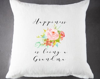 Happiness is being a Grandma, Throw Pillow, Pillow Cover, Farmhouse Pillow, Home Decor, Gift, Housewarming Gift, Pillow
