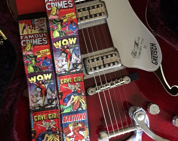 Comic book guitar strap handmade // vintage comic covers fabulous fierce women // retro crime fiction heroines // girlfriend/daughter gift