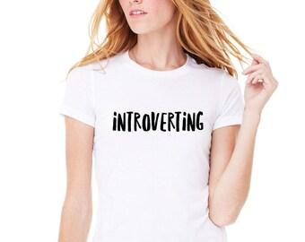 Introverting Shirt, Trendy Fashion T-Shirt, Fangirl Shirt, Teen Girl Gift, Band Shirt, Tumblr, Crew Neck T Shirt, Leave Me Alone