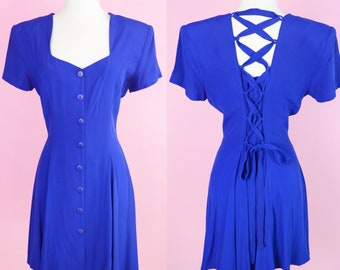 90s Cocktail Dress // Lace Up Back, 1990s, Blue Dress, 80s Prom, Women Size Small, Medium