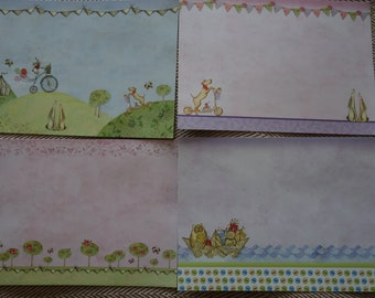 Whimsical Printed scene Scrapbook pages. Set of 4 Outdoor, sea, & animals scrapbook pages. Make your own scrapbook. Card scrapbook pages.