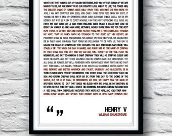 Shakespeare quote, Henry V Poster, Shakespeare poster, quote poster, typographic poster, Shakespeare, wall decor