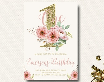 Girls 1st Birthday Invitations   Floral Watercolor   Glitter   Pink   Gold Invitation Invite   Template   Printed   Printable