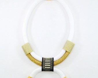 White Arabesque Necklace - ethnic necklace - rope necklace - ethnic jewelry - jewelry for women - african necklace - tribal necklace