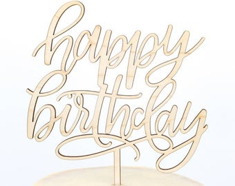 Calligraphy Birthday Cake Topper, Happy Birthday Cake Topper, Script Cake Topper, Happy Bday Topper, Personalized Gold and Silver, Custom