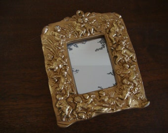 Vintage FLORENTINE Gold Gilt CHERUB Composition MIRROR - Gilded Mirror - Italian Florentine Mirror - Parisian Decor - Paris Apartment