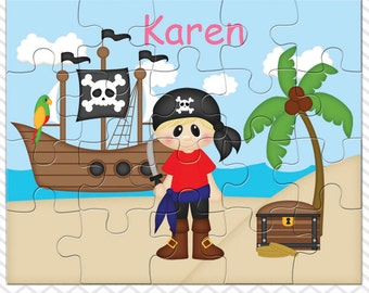 Pirate Boy Personalized Puzzle, Personalized Pirate Boy Puzzle, Personalized Kids Puzzle